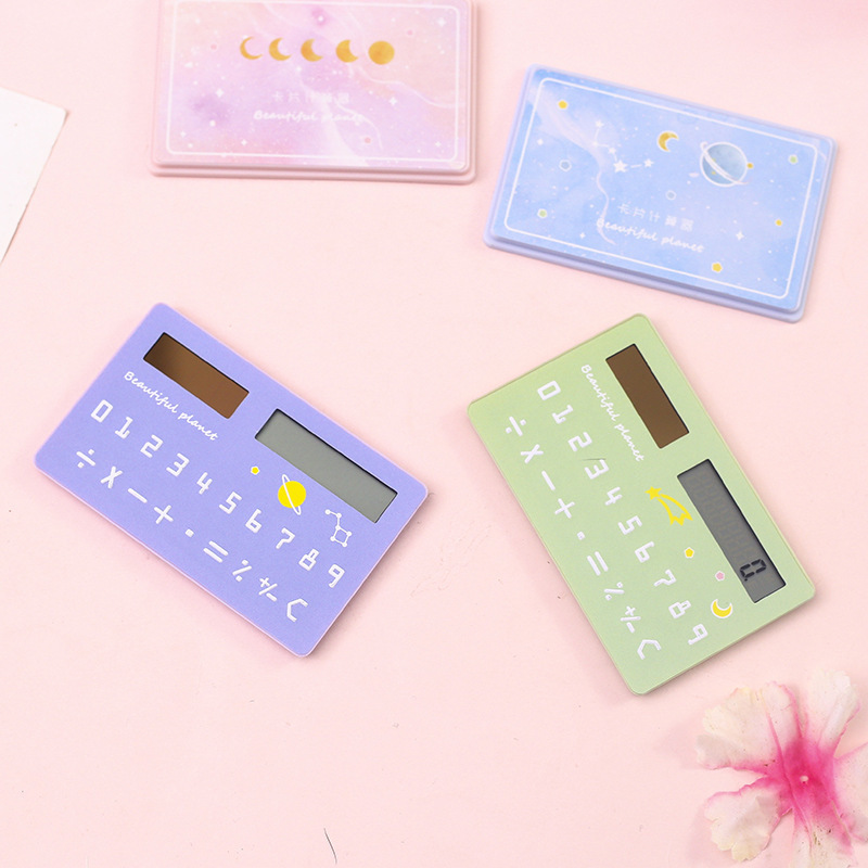 Dream Galaxy Series Solar Energy Creative Mini Student Calculator Card Type Portable Calculator Office Supplies