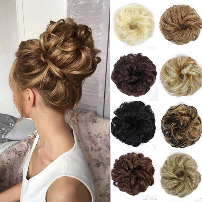 MANWEI Scrunchie  Curly Chignons Hair Synthetic Hair Scruchies Rope Natural Fake Hair Bun Curly Clip In Hair Extensions Fashion