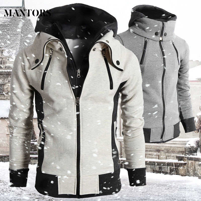 2019 Zipper Men Jackets Autumn Winter Casual Fleece Coats Bomber Jacket Scarf Collar Fashion Hooded Male Outwear Slim Fit Hoody