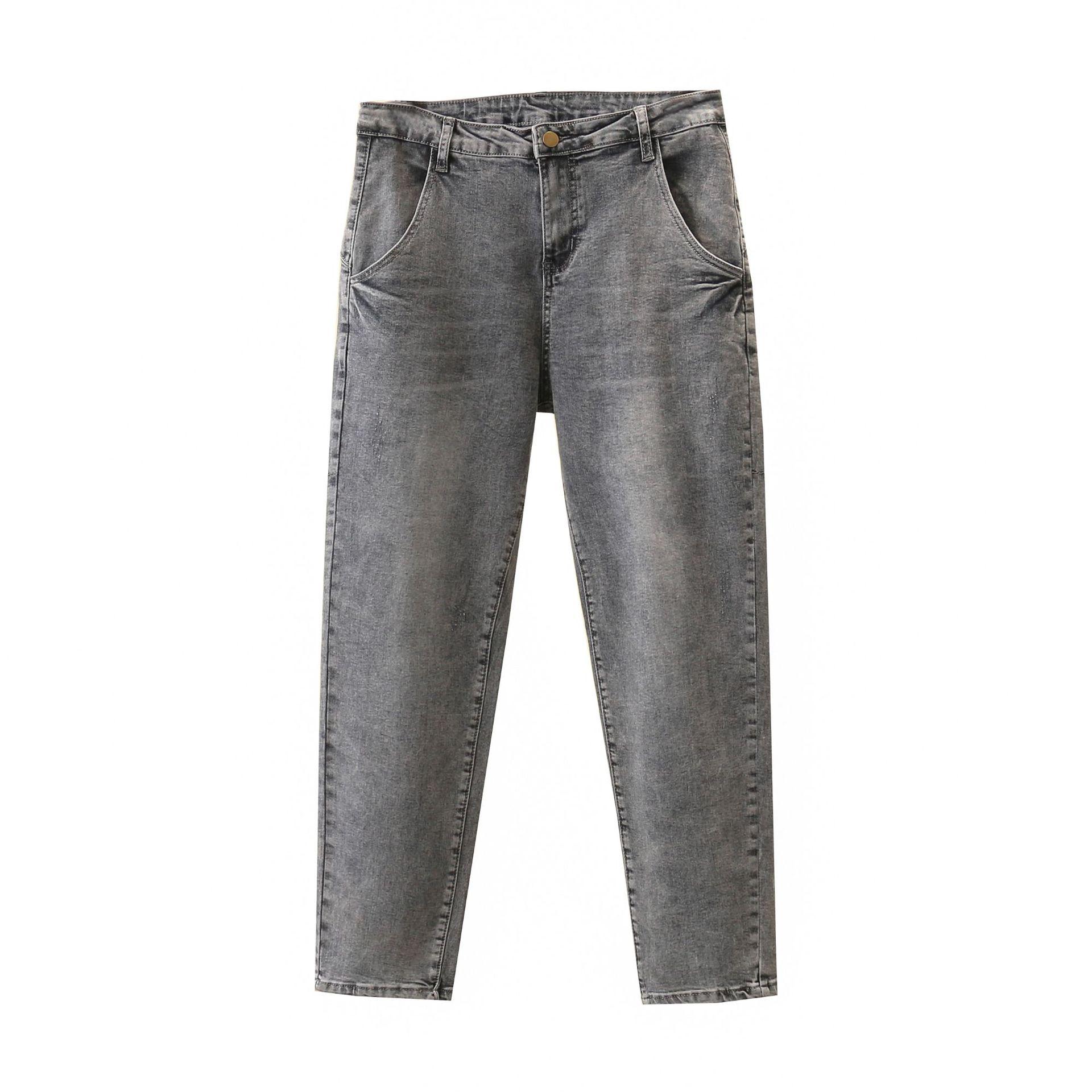 Lady Jeans Spring Plus Size Harem Pants Women Denim Trousers Gray Female High Waist Jeans Casual S61-0968