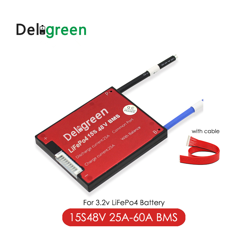 Deligreen 15S 54V Bms 25A 35A 45A 60A PCB For 18650 Li-ion Battery Pack 3.2v Rated Lifepo4 Battery Pack With Waterproof