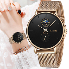 LIGE Woman Watches Rose Gold Luxury Watch