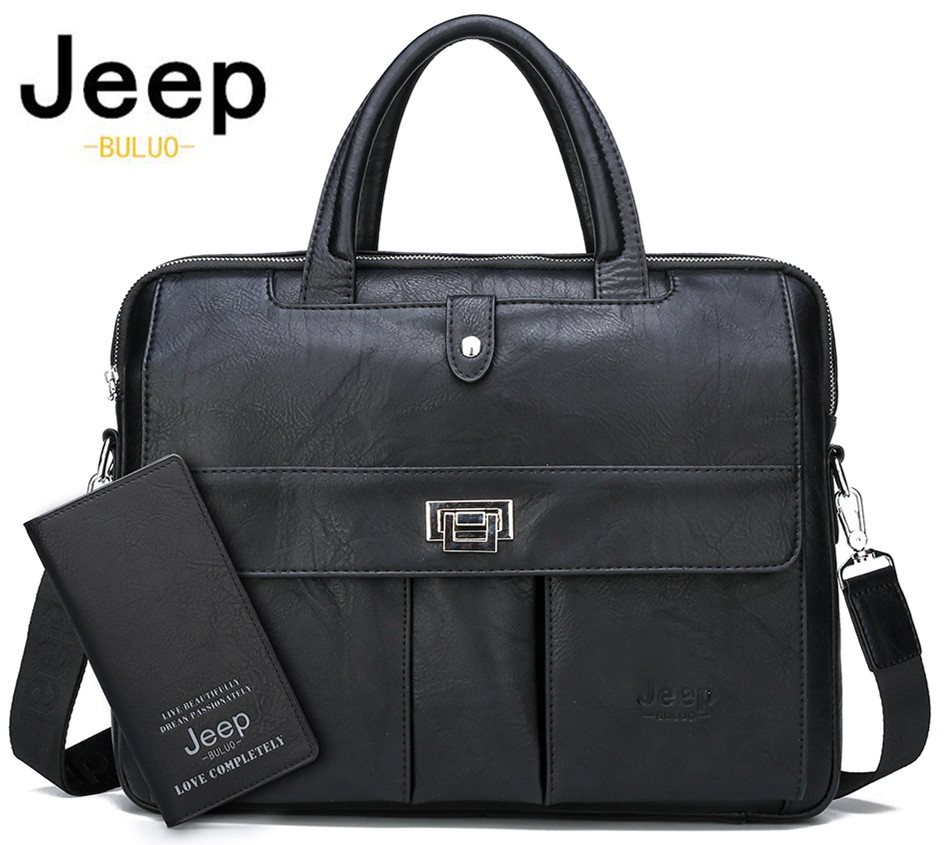 JEEP BULUO Man Briefcase Big Size Laptop Bags Business Travel Handbag Office Business Male Bag For A4 Files Tote Bag