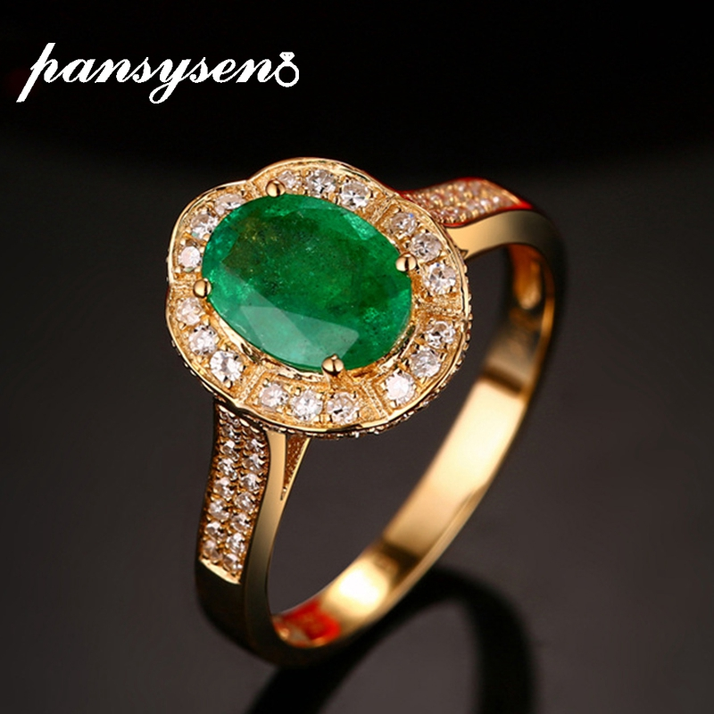 PANSYSEN Gold Color Oval Natural Emerald Ring 925 Sterling Silver Rings For Women Anniversary Silver 925 Gemstones Fine Jewelry
