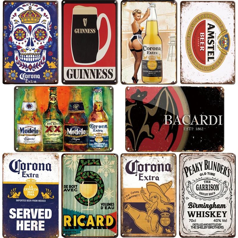 Corona Bacardi Vintage Beer Metal Plaque Sign Bar Home Wall Decor Signs Retro Metal Poster Tin Sign Man Cave Pub Kitchen Plates