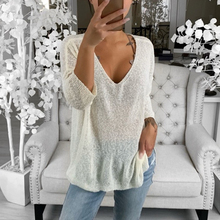 лучшая цена 2019 Autumn Solid Soft Women Knitted Sweater Casual Pullovers Sweaters Women Hollow Out Loose V-neck Top Long Sleeve Tops