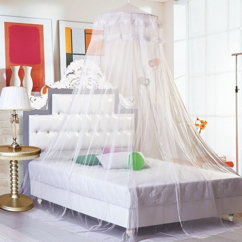 1PC Top Quality Summer Hung Dome Mosquito Nets For Bedroom Polyester Mesh Fabric Solid Bed Canopy Circular Bed Curtains