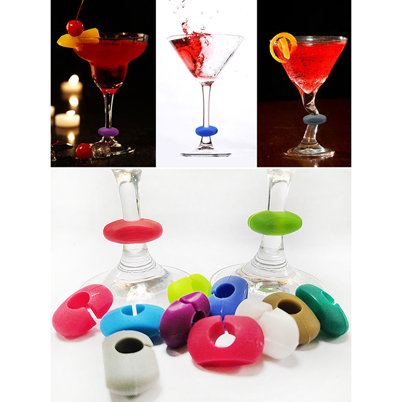 8pcs Silicone Glass Wine Glass Marker Charms Drinking Cup Identifier Party Sign