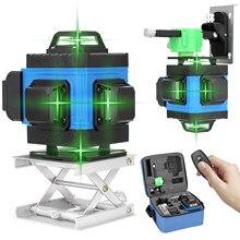 Multifonctionnel 4D 16 lignes niveau Laser faisceau vert 360 lignes transversales horizontales et verticales Auto-nivellement APP télécommande