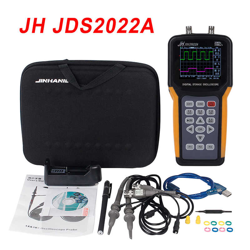 Draagbare oscilloscoop JDS2022A 20MHz Bandbreedte 2 channel Handheld Digitale Oscilloscoop 200MSa/s Sample Rate