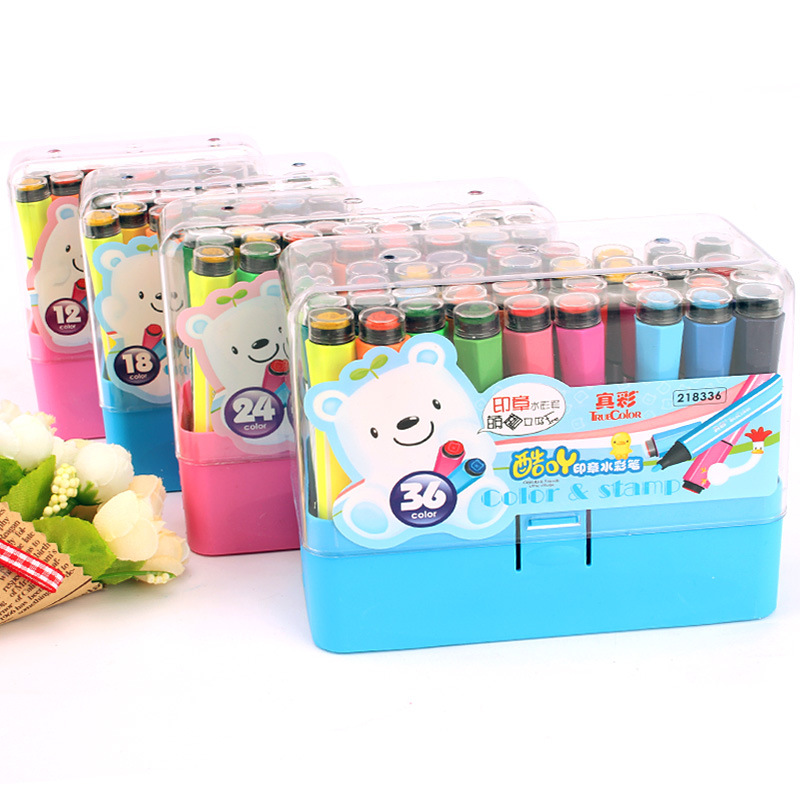 ZHENCAI Cool Acridine With Stamp Watercolor Pen 12/18/24/36-Color-Washing Young CHILDREN'S Drawing Pen Set