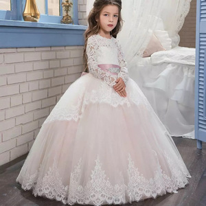 Teenager Pink White Bridesmaid First Communion Elegant Dress For Girls Kids Girl Long Sleeve Lace Princess Party Dress