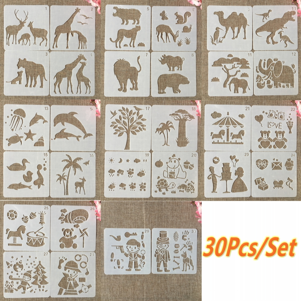 30Pcs/Set 13cm Kids Study Wild Animals DIY Layering Stencils Painting Scrapbook Coloring Embossing Album Decorative Template