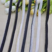 5 metros preto trançado fita ouro prata corda curvada guarnição do laço travesseiro almofada/tubulação lábio cabo guarnição costura acessórios de roupas