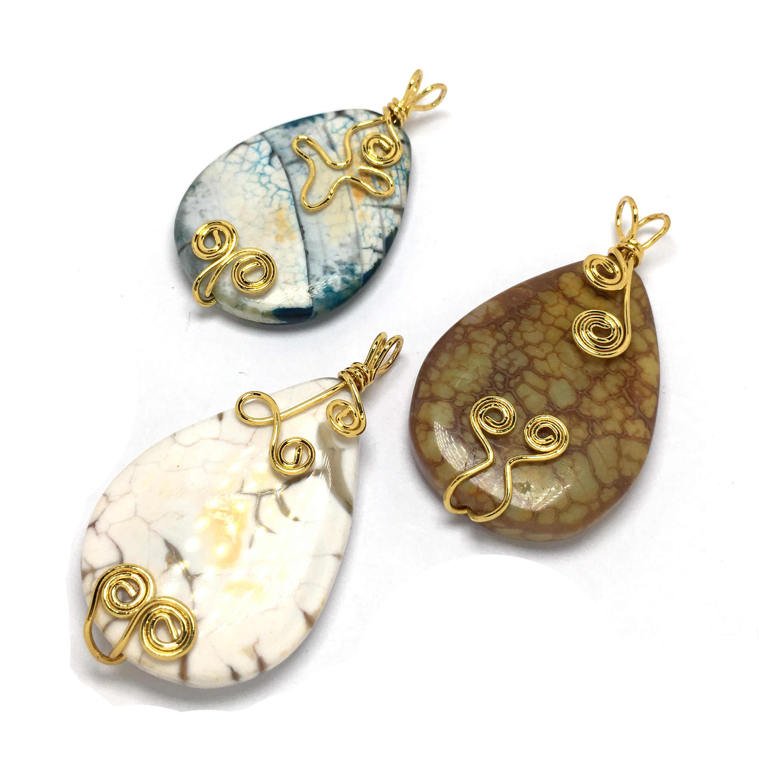 LE SKY nowa kropla wody drzewo życia wisiorki naszyjnik złoty kolorowy drut Wrap kamień naturalny wisiorek kobiety mężczyźni biżuteria Reiki 28x45mm