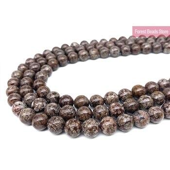 """Piedra Natural marrón copo de nieve obsidiana cuentas redondas DIY pulsera collar encanto para la fabricación de joyas 15 """"hebra 4 6 8 10 12 14MM"""