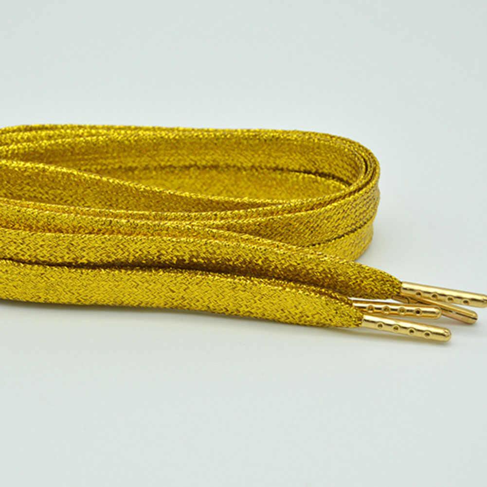 צבעוני איש נשים שרוכי של סניקרס מתכתי גליטר מבריק זהב שרוך כסף שטוח נעל שרוכי ספורט ריצת נעל לשרוך