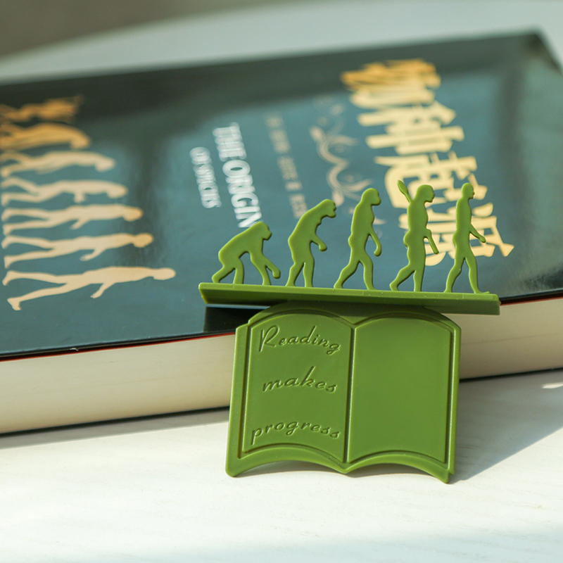 2 PCS Evolution Bookmark 3D Silicone Reading Page Clip Evolutionism Book Holder Gift for Kids can CSV