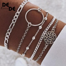 Korean Silver Metal Chain Bracelets For Women Men Tree Charm Bracelets Sets 2019 New Boho Jewelry Gifts Bohemia(China)