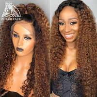 Pelucas de cabello humano con encaje Frontal 13x4, color degradado, rizado, agua, resalte, ondas profundas, color marrón, 1B/30, peluca Frontal prearrancada, Remy