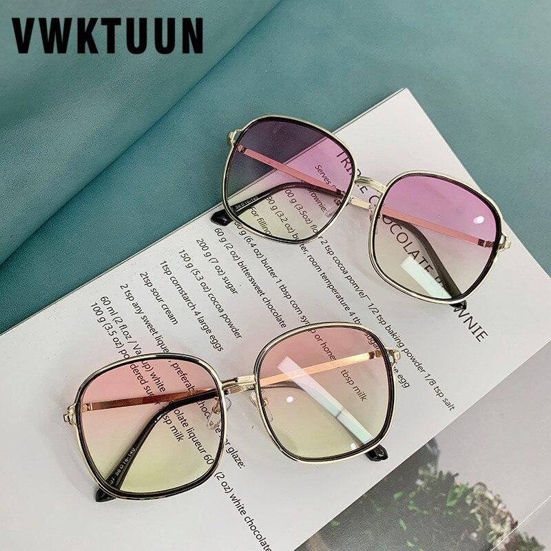 VWKTUUN Creative Sunglasses Square Shades Big Sunglasses Women Colorful Lens Sun Glasses Vintage UV400 Oculos Female Points