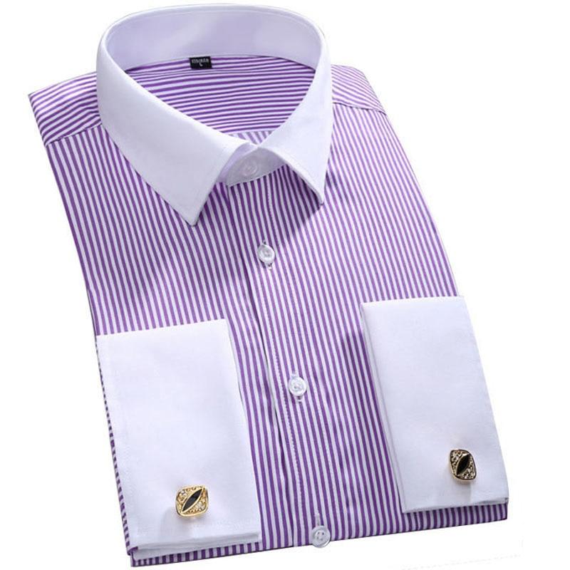 Men's Dress Shirts Loose French Cuff Regular fit Luxury Striped Business Long Sleeve Cufflinks Social Pluse Size Men Shirt 6XL 21