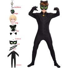 Costume de chat Noir avec anneaux pour garçons et filles, combinaison de Cosplay, dessin animé de chat Noir, pour enfants, fête d'halloween, petit coccinelle