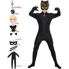 Anime Black Cat Rings Boy Girls redBug Costume Black Cat Noir Cosplay Clothing Kids Halloween Party Little Beetle Suit Jumpsuit
