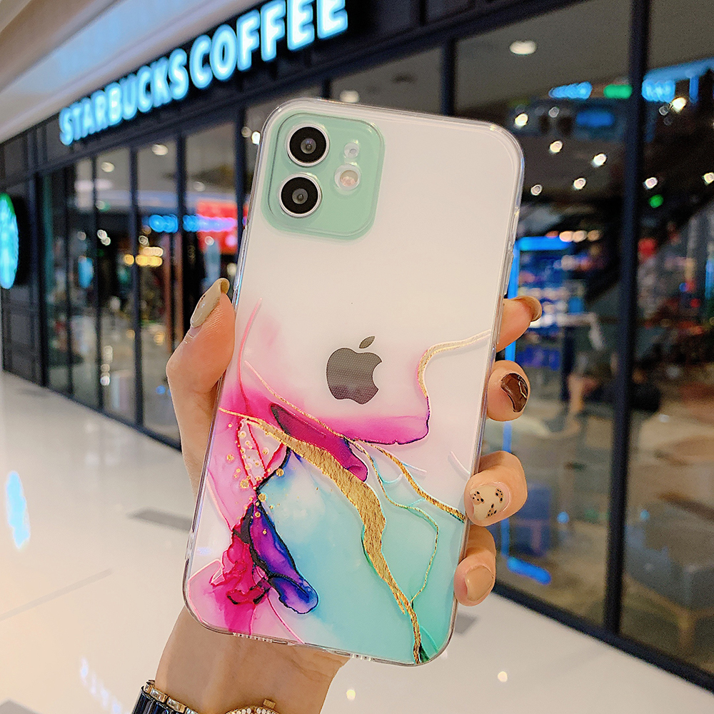 Watercolor Painting Phone Case for IPhone 12 11 Pro X XR Max Mini Clear Shockproof Cover for IPhone 8 7 Plus XS Max Coque Funda