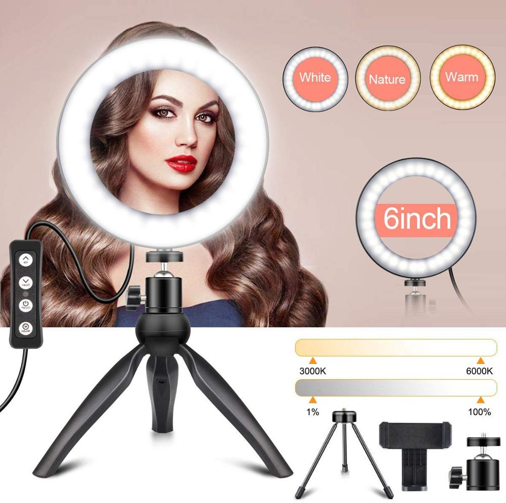 Photography LED Selfie Ring Light 6 Inch Dimmable Led Selfie Light With Tripod Stand Cell Phone Holder For YouTube Lighting