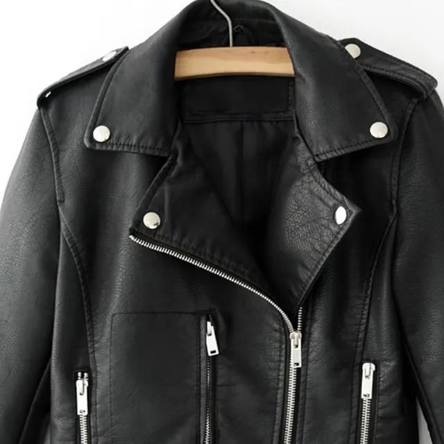 Autumn Women Black Slim Cool Lady PU Leather Jackets Sweet Female Zipper Faux Femme Outwear Coat Plus Size Short Jackets