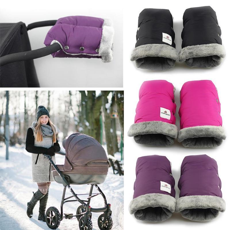 1 Pair, Black# Winter Waterproof Baby Stroller Gloves Warm Carriage Pram Hand Muff Buggy Glove