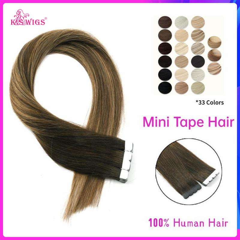 K.S WIGS Mini Tape In Human Hair Extensions Straight Machine Made Remy Human Hair Invisible Adhesive Extension 12'' 16'' 20''