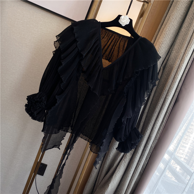 Summer Blouse Women New Temperament Ladies Casual Loose V-neck Cover Meat Thin Bow Pleated Chiffon Shirt Blouses Blusas Femme