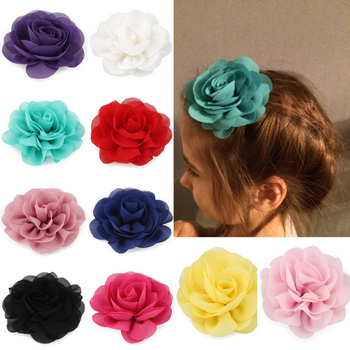 8.5cm Newborn Chiffon Poppy Flower Hair Clips Rolled Rose Fabric Hair Flowers Headwear For Girls Kids Hair Accessories image