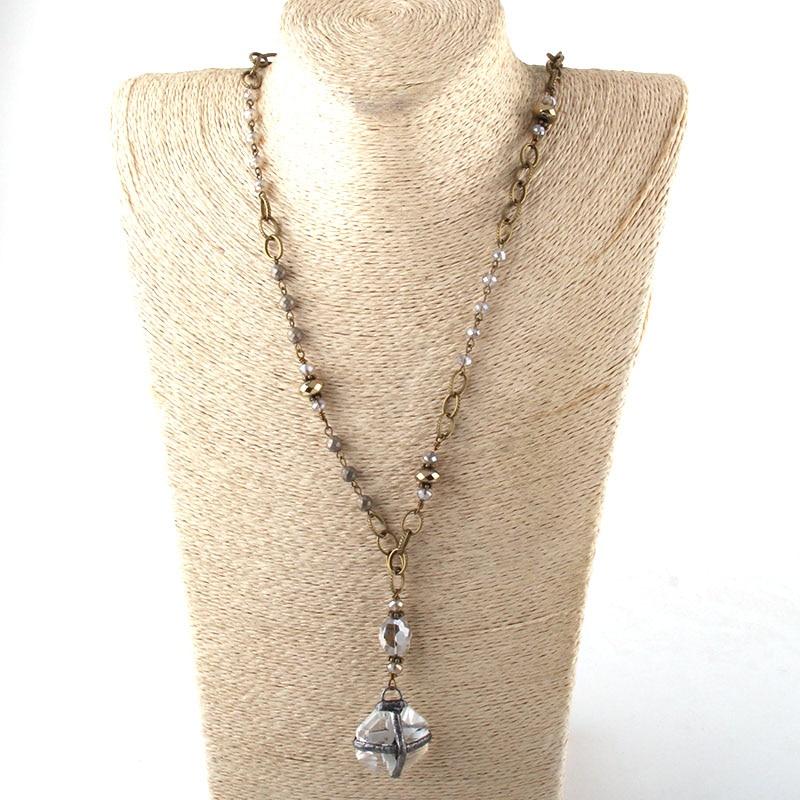 Модные богемные ювелирные изделия Античный камень цепочка со стразами кристалл кулон ожерелье s для женщин национальное ожерелье - Окраска металла: 6