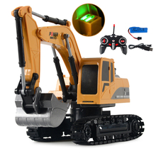 1/24 RC Truck Toys Alloy RC Excavator metal 2.4G Remote Control Bulldozer Model Engineering Car Toy For Boys Kids Christmas Gift