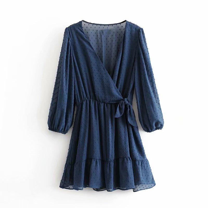 Women Fashion Cross V Neck Bow Tied Chiffon Mini Dress Female Elastic Waist Casual Pantskirt Vestidos Chic Kimono Dresses DS3067