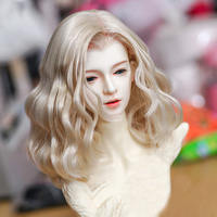 Hot Universal Curly Wig For 1/4 For 1/3 BJD Dolls Toy For Children Kids Educational Toys Birthday Gift Light Golden (No Doll)