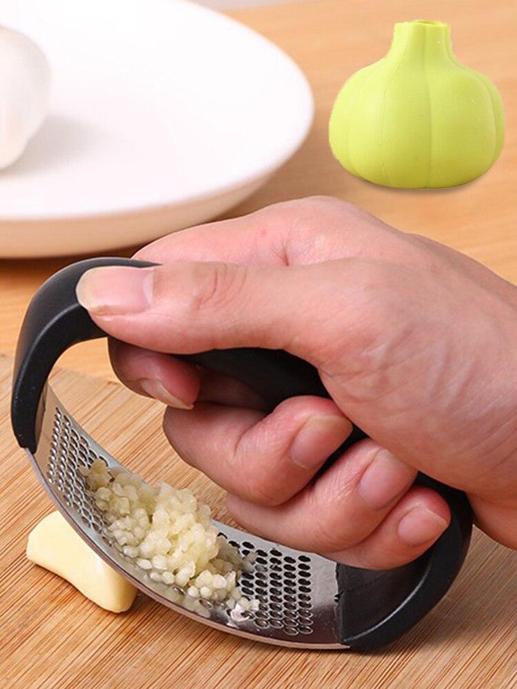 Meijuner New Stainless Steel Garlic Press Kitchen Accessories Curved Multifunction Manual Garlic Kitchen Grinding Garlic