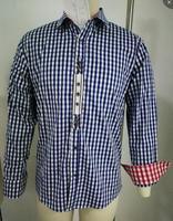 Yiwa Shirt Men's Classic Check Pattern Long Sleeve Embroidery Oktoberfest Shirt Turn down Collar Neck Boy Slim Men Clothing