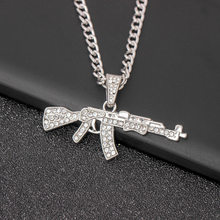 Punk Hip Hop Full of Crystals Machine Gun Necklace Personalized & Creative Submachine Gun Pendant Ornaments(China)