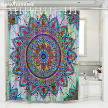 Hippie Mandala Shower Curtain Flowers Curtains Waterproof Fabric Bath Screen Curtain for Home Decoration Boho Bathroom Curtain flowers blossom waterproof bath curtain