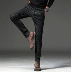 Высококачественные мужские модные черные повседневные облегающие Стрейчевые джинсы, Классические джинсовые брюки для мужчин, бесплатная ...