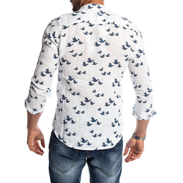 Oeak Hawaiian Shirt Long Sleeve Wild Goose Print Button Linen Shirts Summer Camisas Hombre Mens Shirts Casual Slim Fit Blusa New 5