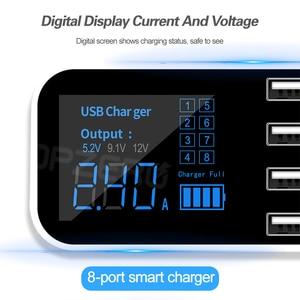 Image 2 - 8 bağlantı noktalı USB araç şarj cihazı QC3.0 hızlı şarj telefon şarj cihazı 40W 2.4A çok USB soketi için LED ekran ile iPhone Android Samsung