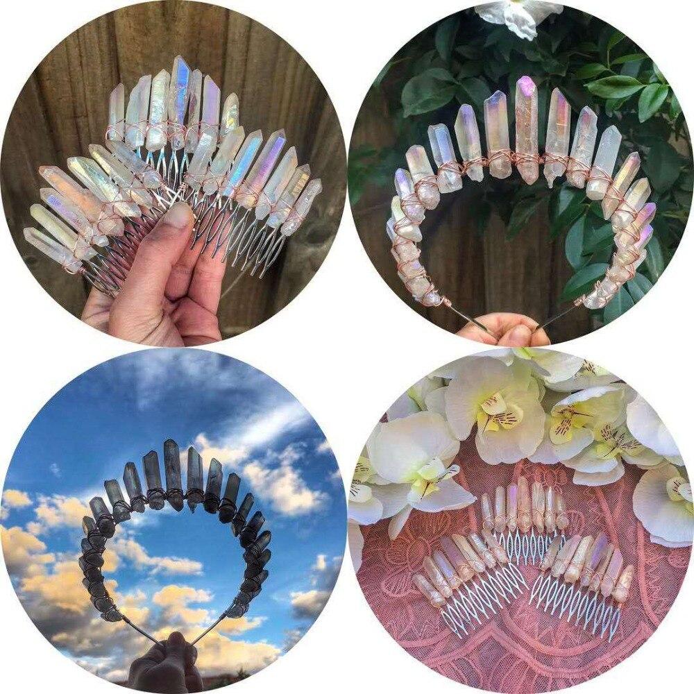 Artilady Raw Quartz Headband Wedding Tiara Hair Combs Crystal Comb Bridal Hair Accessories Healing Hairpins Jewelry Gift