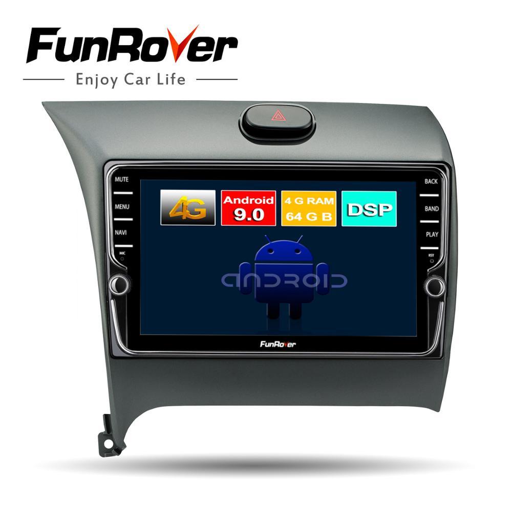 Funrover Octa 8 Core Car Radio Multimedia Android9.0 For Kia K3 Cerato Forte 2012-2016 Car Gps Navigation Bluetooth 4GSIM No Dvd