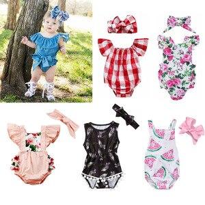 サンスーツ幼児ガールコットンロンパースジャンプスーツヘッドバンド服服セット 0-24m