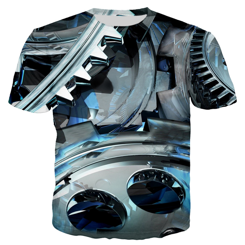 3D Motorcycle T-shirt Punk Clothing Retro Clothes Mechanical Tshirt Tops Tees Men Summer Funny Print T-shirt Mens Tee Plus Size 3